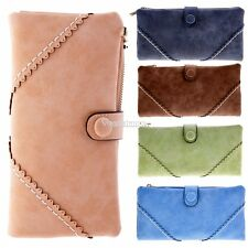 New Womens Synthetic Leather Long Wallet Purse Clutch Wristlet 6 Colors Handbag