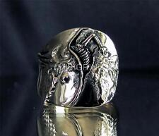 "ARTWORK RING "" THE BIRTH OF DEATH "" SKELETON SKULL INSPIRED BY DALI ANTIQUED"