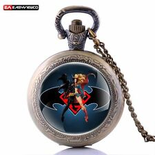 New Antique Supergirl Pendant Necklace Quartz Pocket Retro Watch Steampunk Gift