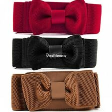 Women Girls Graceful Bowknot Elastic Lovely Belt With Buckle Waistband W3LE