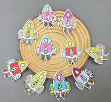 Cartoon Rocket Spacecraft Wooden Buttons Sewing Mixed color scrapbooking 32mm