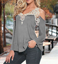Sexy Womens Summer Off-Shouder Casual Shirts V-Neck Tops Plus size Blouses Lace