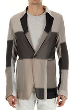 RICK OWENS Men New Original Black White Beige Checked Silk Blazer Made in Italy