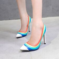 Fashion Pointed Toe Pumps Women High Heels Rainbow Multi-Colored Stilettos Shoes