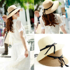 Casual Women Wide Large Brim Floppy Foldable Summer Beach Sun Straw Beach Hat