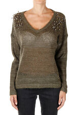 PINKO TAG New woman Green Vneck Details Rhinestone Mohair Blend Sweater NWT