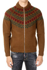 DSQUARED2 Man Brwon Knitted Sweater with Zip Made in Italy