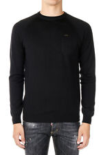 DSQUARED2 Man Black Round Neck Sweater Made in Italy