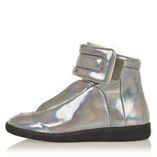 MARTIN MARGIELA MM22 woman Iridescent Silver High Top Sneaker Shoes Made Italy