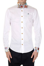 VIVIENNE WESTWOOD LONDON Men White Stretch Cotton Shirt Made in Italy