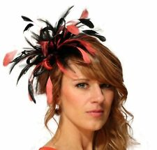 Black & Coral Pink Fascinator hat/choose any colour satin/feather