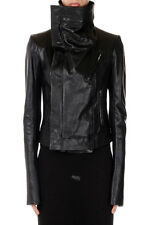 RICK OWENS New women Black  Leather JACKET CLASSIC BIKER  NWT