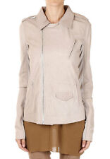 RICK OWENS Women Beige Leather GIRL STOOGES Jacket Made in Italy New