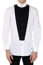 VIVIENNE WESTWOOD LONDON Men White Plastron Cotton Shirt Made in Italy