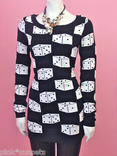 Betsey Johnson Dice Tunic Sweater Dress Runway Top Black White S L