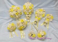 WEDDING FLOWERS BRIDE BRIDESMAID F/GIRL BOUQUET WAND PACKAGE YELLOW + PALE LEMON
