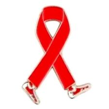 Red Ribbon Pin Walking Legs Awareness Cancer Cause Support Collar Tac Walk Event