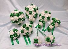 WEDDING FLOWERS PACKAGE BOUQUET POSY BRIDE-BRIDESMAID-FLOWER GIRL, EMERALD-IVORY