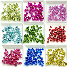Wholesale 100pcs Bicone Faceted Crystal Glass Findings Loose Spacer Beads 6mm