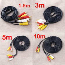 1.5/3/5m 3 RCA Male Composite AV Audio Video Gold Plated Cable Cord Male to Male