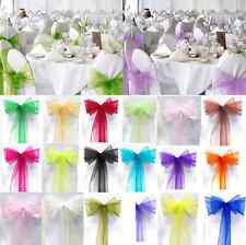10/50/100PCS Charming Organza Bow Wedding Chair Cover Sash Party Banquet Decor