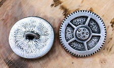 2 Steampunk Gear Pewter Shank Buttons 15/16 Inch (24 mm) #1067