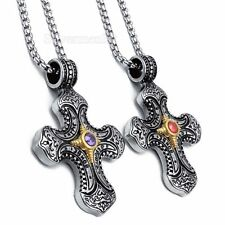 Mens Silver Gold Celtic Cross CZ Stainless Steel Pendant  Necklace Chain Jewelry