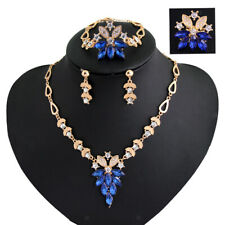 Hot Elegant Wedding Bridal Party Jewelry Set Rhinestone Ctystal Earring Necklace