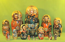 RARE Russian Military Napoleonic War Era Large Size NESTING DOLL w ID'd Officers
