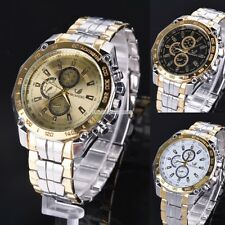 Men's Sports Wrist Watch Stainless Steel Quartz Analog Dial Luxury 3 Color EN24H