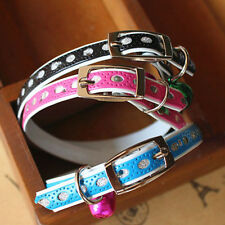 Adjustable Puppy Dog Kitty Cat Waterproof Neck Collar With Safety Bell New VNC