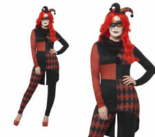 Sinister Jester Costume Ladies Halloween Fancy Dress Costume S-L
