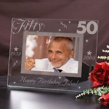 Personalized  50th Birthday Picture Frame Engraved Glass Birthday Photo Frame