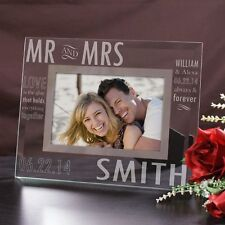 Personalized Mr & Mrs Picture Frame Glass Wedding Gift Engraved Photo Frame