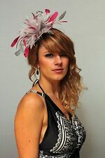 Silver & Fuschia Hot Pink Fascinator Hat/choose any satin/ feather colour