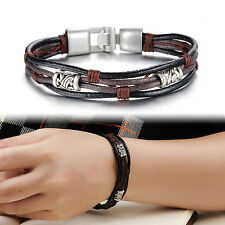 Stainless Steel Men's Braided Genuine Leather Cuff Bangle Bracelet Wristband CHI