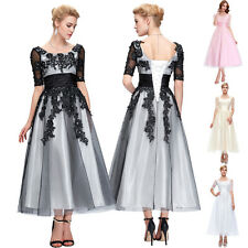 Plus Size Half Sleeve Vintage Evening Party Cocktail Gowns Prom Masquerade Dress