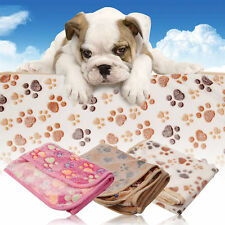 Cat Pet Mat Small Large Paw Print Cat Dog Puppy Fleece Soft Blanket Bed Cushion