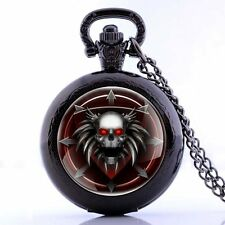 Vintage Skull Quartz Retro Pendant Pocket Watch Necklace Antique Gift Xmas Chain