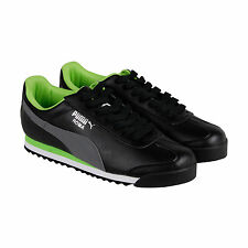 Puma Roma Basic Mens Black Leather Lace Up Sneakers Shoes