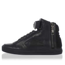 VERSACE New Men Black shoes Leather Laced Sneakers Made in Italy NWT