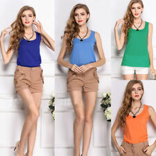 New Women's Chiffon Vest Tank Sleeveless T-Shirt Solid Casual Tops Blouses Vogue