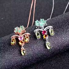 1X Necklace Emerald Olivine Tourmaline With 925 Silver Plated 18K Gold Platinum