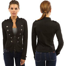 Women Zip Front Stand Collar Casual Slim Fit Military Light Jacket Coat Outwear