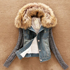 Women Winter Outwear Jeans Warm Fur Collar Denim Trench Coat Jacket Overcoat