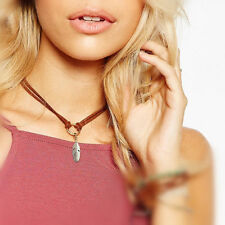 Fashion Faux Suede Leather Choker Necklace Vintage Feather Pendant Neck Jewelry