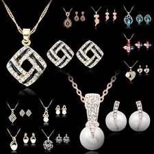 Wedding Party Pearl Crystal Choker Pendant Necklace Dangle Earrings Jewelry Set
