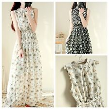 Vintage Womens dress Full length chiffon sweet Floral Evening Party Beach dress