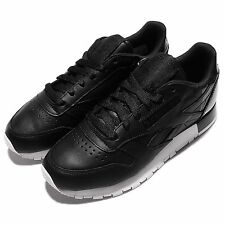Reebok CL Leather Matte Shine Black White Womens Casual Shoes Sneakers AR0850