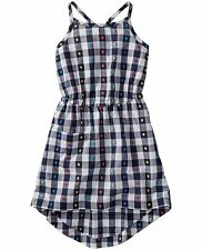 Hanna Andersson Girls Gingham High Low Dress Sundress NEW NWT 130 140 Navy